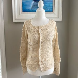Anthropologie Angel of the North Crochet Sweater